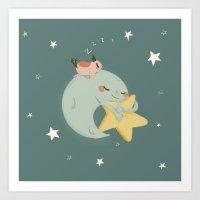 Moon Nap Art Print