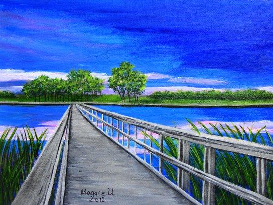Walking bridge on the lake  Canvas Print