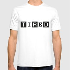 Tired Magazine SMALL Mens Fitted Tee White