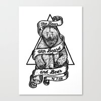 The Bear With Beard And … Canvas Print