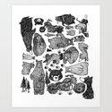 Bear and motorcycles Art Print