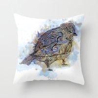 watercolor sparrow Throw Pillow