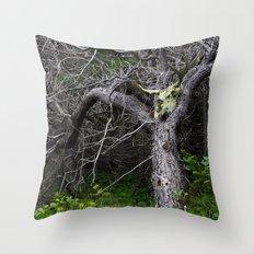 Forest Spirit Skull Throw Pillow