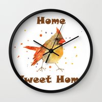 Funny Animals, CARDINAL, bird paintings, bird art, new home decor, bird watercolor Wall Clock