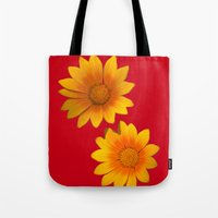 Two Yellow Flowers on Funky Red Background Tote Bag