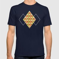 Triangle Diamond Grid Mens Fitted Tee Navy SMALL