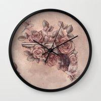 Guns & Flowers Wall Clock