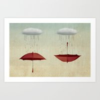Embracing The Rain Art Print