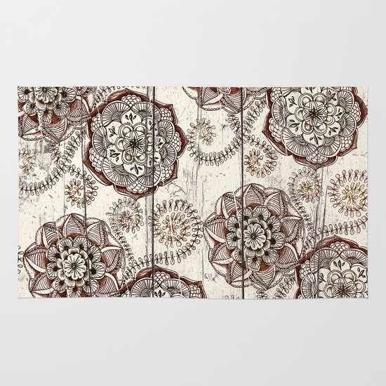 Coffee & Cocoa - brown & cream floral doodles on wood Area & Throw Rug