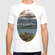 Bridge Near Vancouver White SMALL Mens Fitted Tee