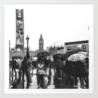 Umbrellas in London  Art Print