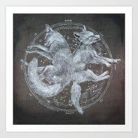 The White Foxes Art Print