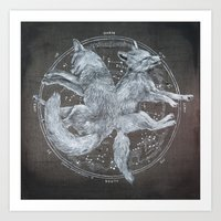 The White Foxes Art Print