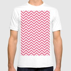 Rosa Zig Zag Mens Fitted Tee SMALL White
