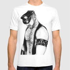 handsome hardcore SMALL White Mens Fitted Tee
