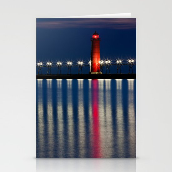 Grand Haven Pier Lighthouse and Reflections Stationery Card