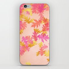 Autumn-world 1 - gold leaves on pink  iPhone & iPod Skin