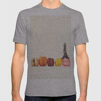 Paris, macaron and the eiffel - Vintage version Mens Fitted Tee Athletic Grey SMALL