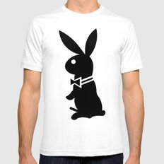 playboy horny rabbit  SMALL Mens Fitted Tee White