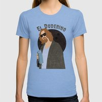 El Duderino Womens Fitted Tee Tri-Blue SMALL
