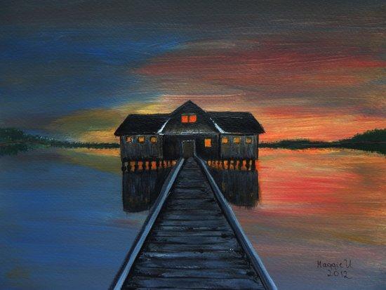 Old boat house  Art Print