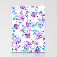 Modern pink turquoise hand painted floral paisley pattern illustration  Stationery Cards