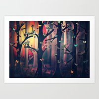 The Woods at Sunset Art Print