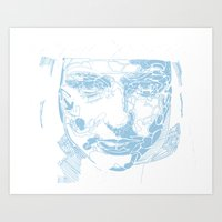 facial shapes - blue Art Print