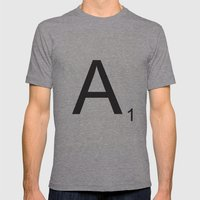 Scrabble A Mens Fitted Tee Athletic Grey SMALL