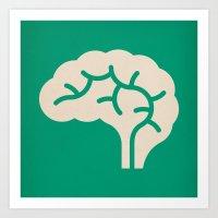 brain Art Prints featuring Brain by Blank & Vøid
