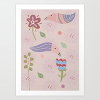 flowers and birds Art Print