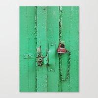 Lock on a Green Door Canvas Print