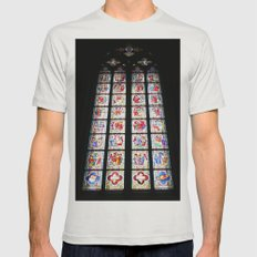 Stained-Glass Church Window in Cologne Cathedral Mens Fitted Tee Silver SMALL