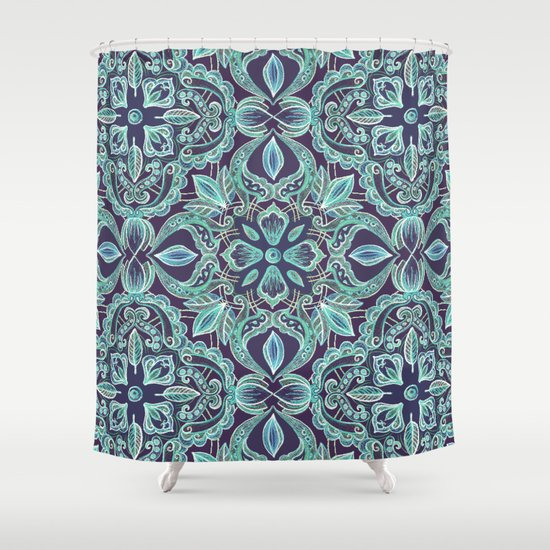 chalkboard floral pattern in teal navy shower curtain by