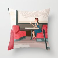Sipping Green Tea At The… Throw Pillow