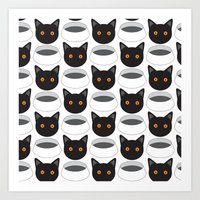 Cat Face & Bowl Art Print