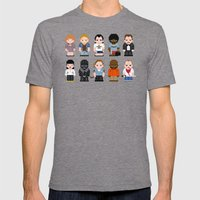 Pixel Pulp Fiction Characters Mens Fitted Tee Tri-Grey SMALL