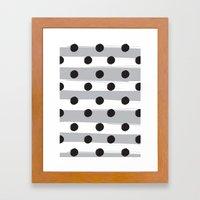 BLACK DOTS MEET WHITE STRIPES Framed Art Print