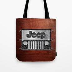 Embossed Steel Jeep logo with wood background iPhone 4 4s 5 5c 6, pillow case, mugs and tshirt Tote Bag