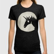 The Unicorn Moon Womens Fitted Tee Tri-Black X-LARGE