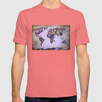 Stars World Map. Space. Mens Fitted Tee Pomegranate SMALL