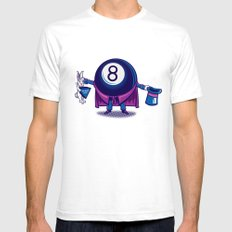The Magic Eight Ball Mens Fitted Tee SMALL White