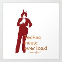 Techno Music Overload Art Print