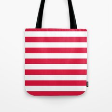Horizontal Stripes (Crimson/White) Tote Bag