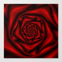 Rose Spiral in Black and Red Canvas Print