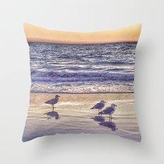 Birds on the Beach at Sunset Throw Pillow