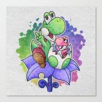 Yoshi And Baby Yoshi Canvas Print