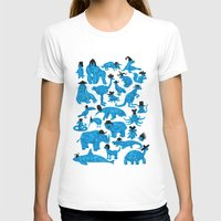 Blue Animals Black Hats Womens Fitted Tee White SMALL