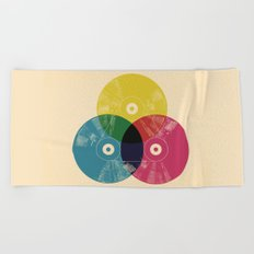 Music is the colors of life Beach Towel