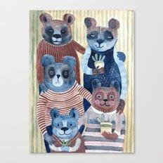 Cute Bear Family Group Watercolor Canvas Print